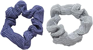 product image for CHIMERA 2Pcs Organza Hair Scrunchies Vintage Solid Color Large Chiffon Hair Elastic Hair Ponytail Holders for Women and Girls (Blue+Gray)