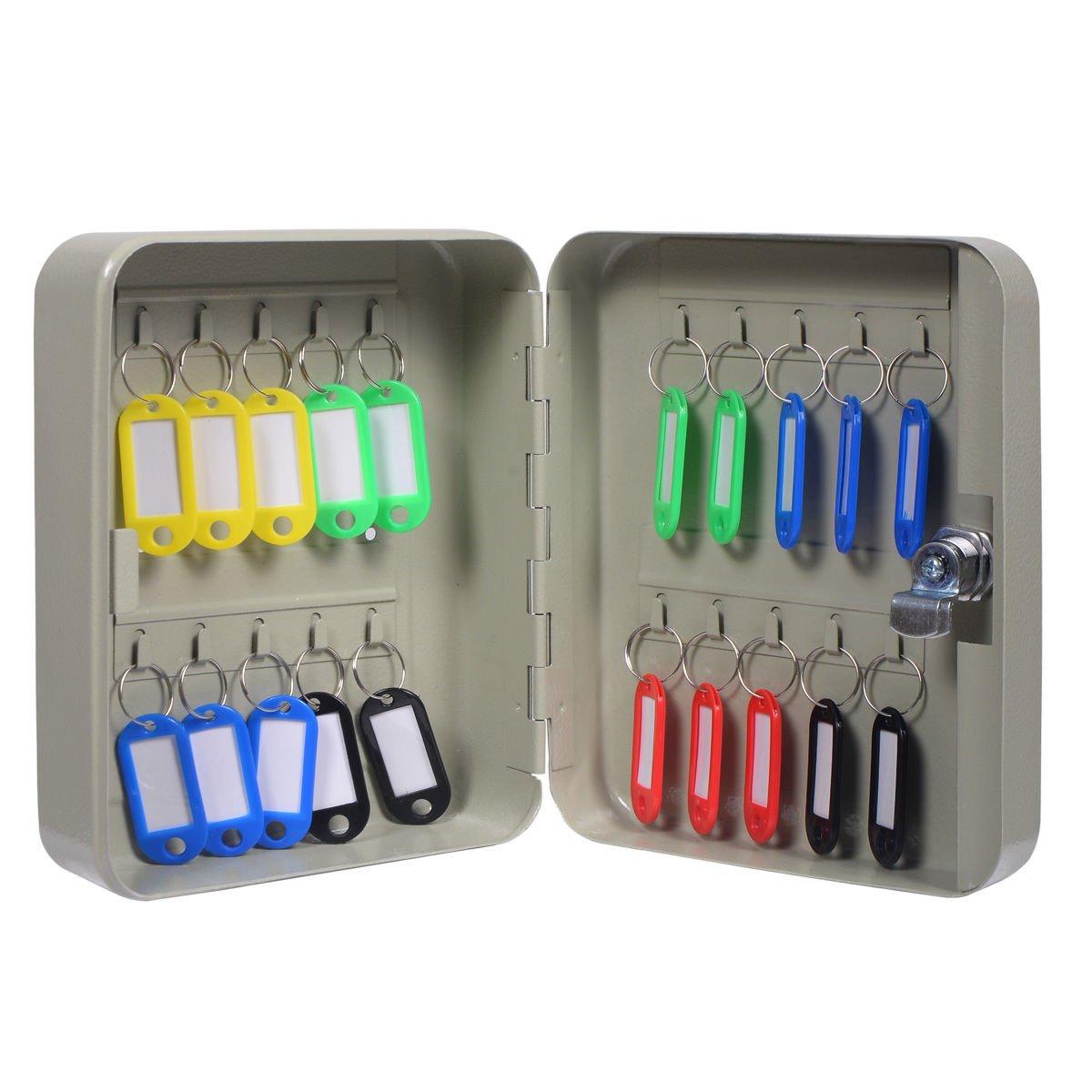 7.8'' Metal Gray Wall Mount Metal Key Box Storage w/ 20 Hook with Ebook