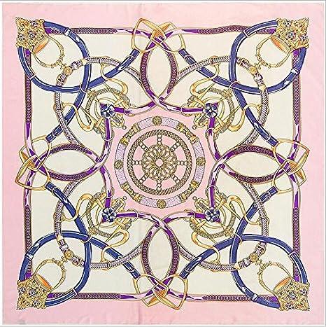 LYDHWK Bufanda de Seda Nuevo Diseñador Pañuelo de Cinturón de Impresión de Las Mujeres Pañuelos y Bufandas Cuadradas de España Patrón de Cadena Señora Foulard Accesorio Rosa: Amazon.es: Deportes y aire libre