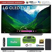 "LG C8 OLED 4K HDR AI Smart TV (2018 Model) + LG SK10Y 5.1.2-Channel Hi-Res Audio Soundbar w/Dolby Atmos + Hulu $100 Gift Card + 1 Year Extended Warranty + More (77"" OLED77C8)"
