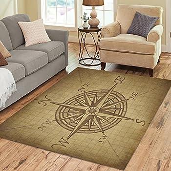InterestPrint Grunge Compass Rose Area Rugs Carpet 7 X 5 Feet, Vintage  Navigation Compass Modern Carpet Floor Rugs Mat For Children Kids Home  Living Dining ...