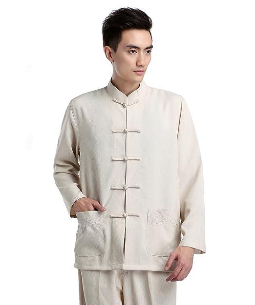 6336b86667de3 ZooBoo Traje tradicional chino para hombres beige beige XXXL  Amazon.es   Ropa y accesorios