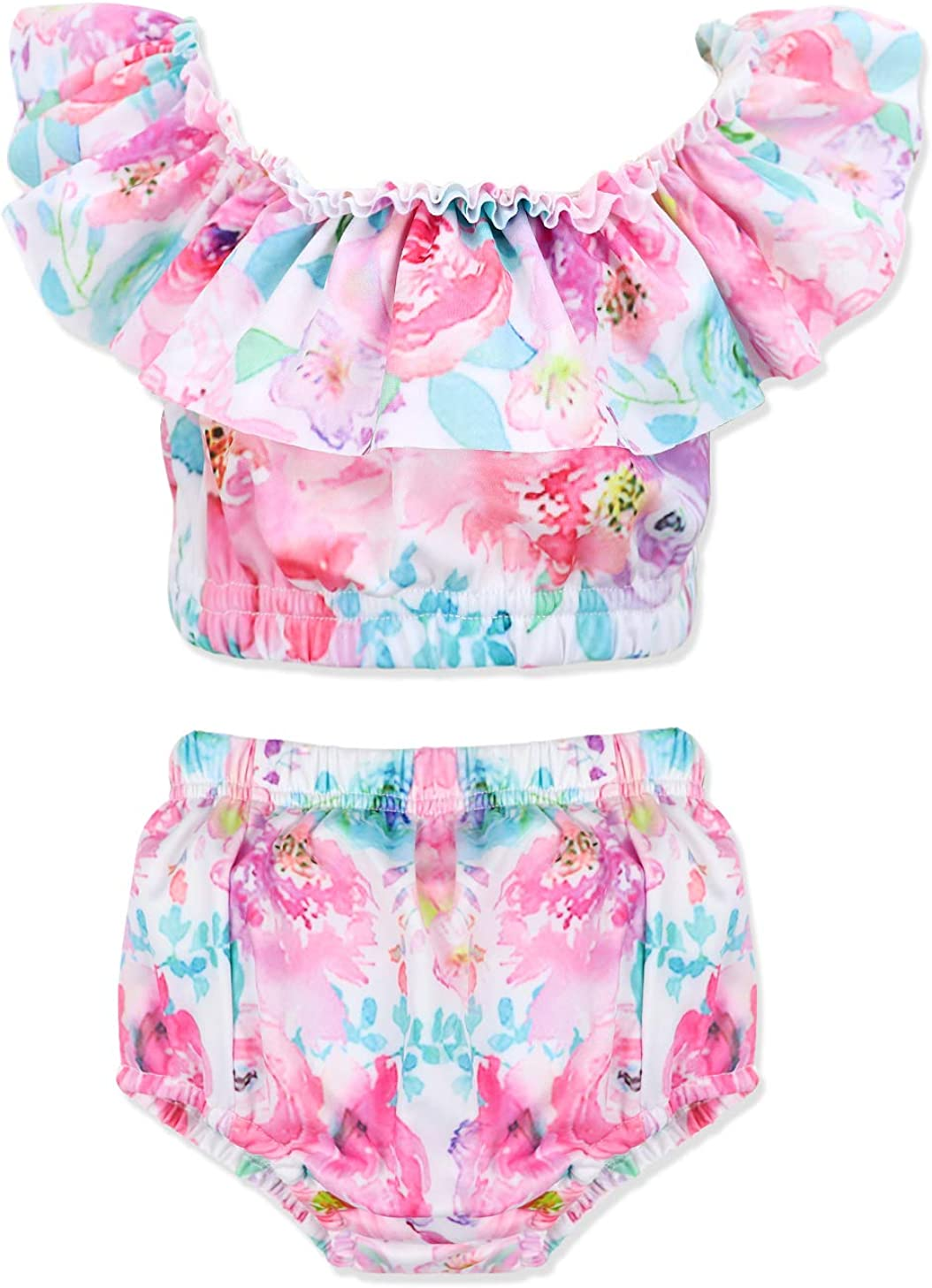 Sun Protection Toddler Baby Girls Two Piece Ruffle Collar Floral Swimsuit with UPF 50