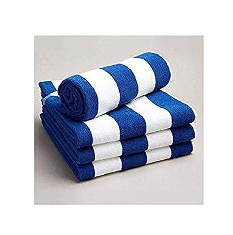 Casa D O Toallas de baño algodón Egipcio a Rayas de Color Blanco y Azul
