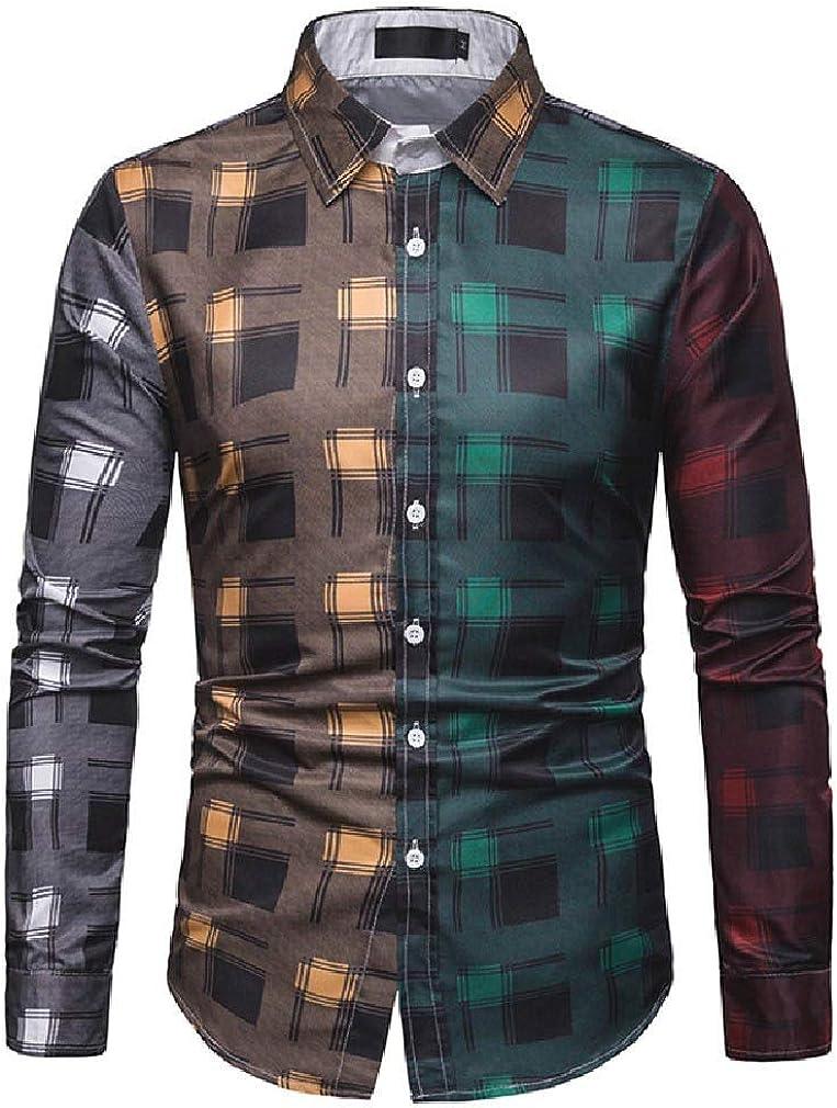 FieerMen Casual Plaid Business Hit Color Long-Sleeve Dress Shirts