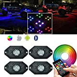 Addmotor RGB LED Rock Light Underglow with Bluetooth Controller Neon Lights Multicolor Under Vehicle Cars Under Off Road Jeep Truck SUV ATV Motorcycle Boat (Pods Neon LED Light Kit(Multicolor))