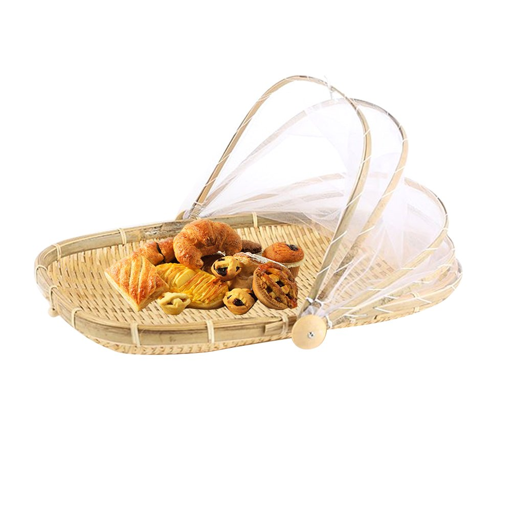CampHiking® Food Cover Carrier Hand-woven Basket Protects Food And Drinks From Bugs Dustproof Bread Fruit Basket Picnic Basket with Gauze Cover (Rectangle)