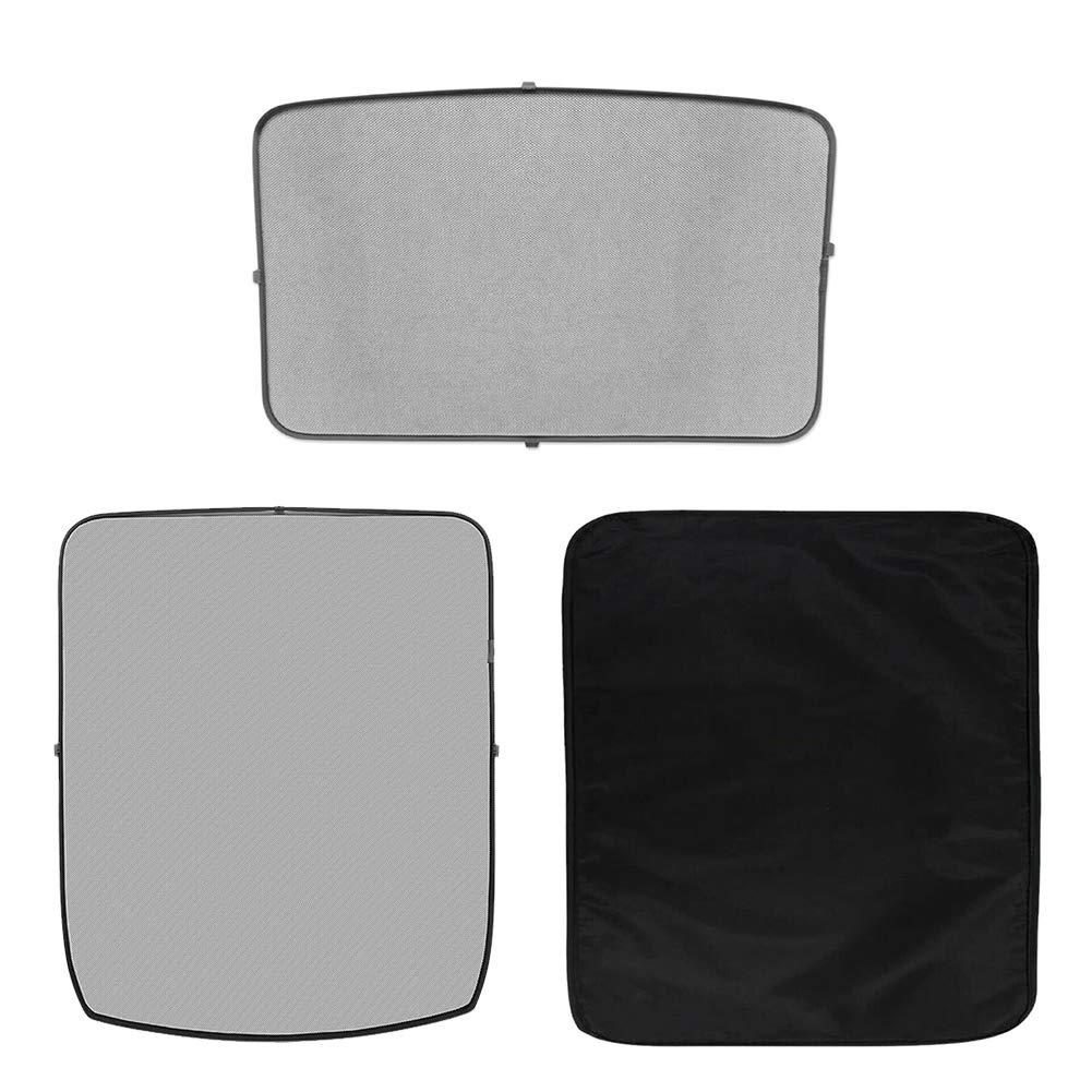 Windshield Sunshade 2pcs// Set Protect Easy Install Durable Foldable Interior Front Back Visor Car Sunroof Summer Anti Heat Shading Net Practical Mesh for Tesla Model 3