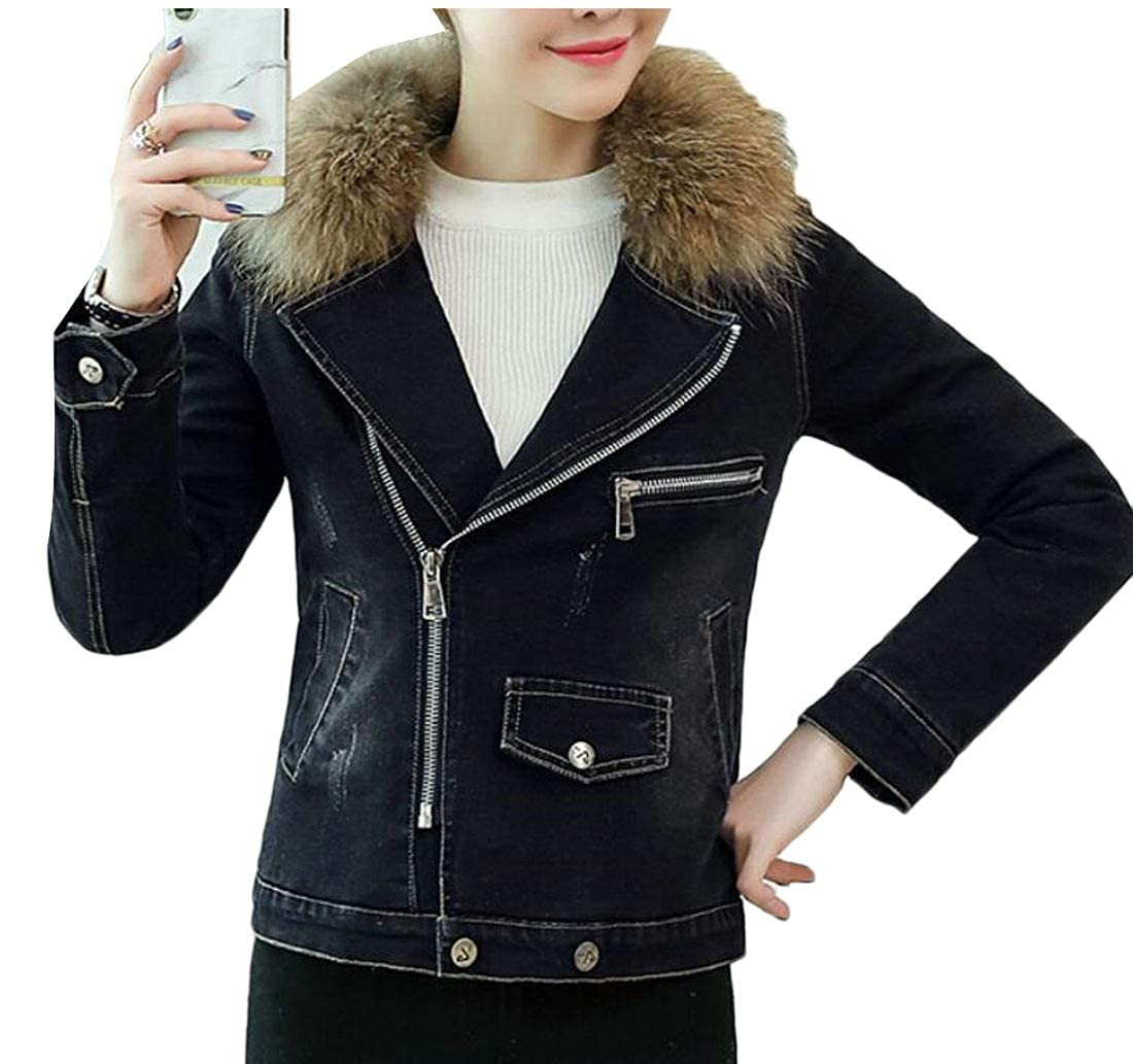 1 Esast Women Warm Fleece Lined Slim Faux Fur Collar Winter Cropped Denim Jacket