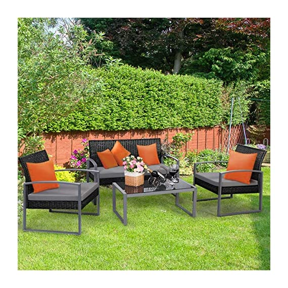 Tangkula 4 PCS Outdoor Patio Furniture Rattan Wicker Conversation Set, As pic - Attractive appearance: equipped with 1 loveseat, 2 chairs and 1 Coffee Table, It is made up with solid steel frame and PE wicker with sponge cushions ensuring a long lifetime. Its stylish armrests and moderate-reclining backrest double the comfort for you to totally relax yourself and make it more eye-catching. Easy carry: Made of lightweight Rattan material, it can be carried easily and labor-efficiently to the desired place. Its compact structure and beautiful texture can surprisingly highlight your patio or poolside Deco. Moment to clean: table with removable tempered glass adds a sophisticated touch and allows you to places drinks, meals and other accessories on top. And you can clean it easily with just a wipe when there is water strain on it. The separable Seat cushion also enables you a quick wash. - patio-furniture, patio, conversation-sets - 611OcXTAq%2BL. SS570  -
