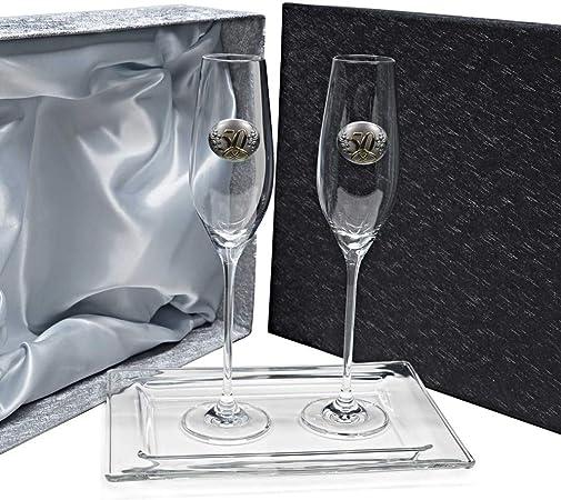 la galaica | Pack 2 Copas de Cristal para Champán Cava y Espumoso + Bandeja de