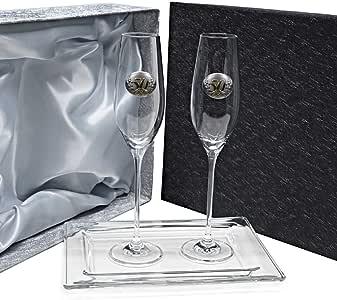 La Galaica - Pack de 2 Copas de Cristal para Champán Cava y Espumoso + Bandeja de Cristal Centrada | Regalo para 50 Aniversario - Bodas de Oro y Plata | CELEBRATION |