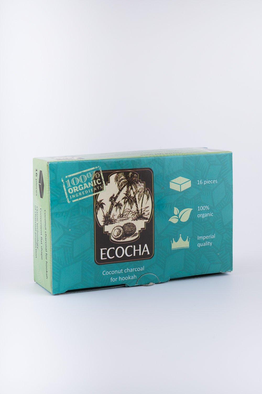 Ecocha Coconut Hookah Charcoal - 100% Organic Coco Coal - 16 Pieces