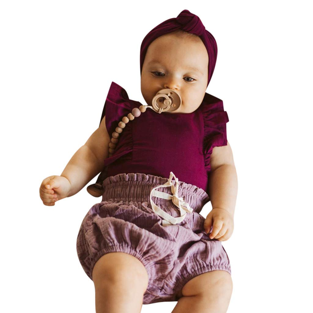 Headband Bodysuit Sunsuit Outfits WOCACHI Toddler Baby Girls Clothes Infant Baby Kid Newborn Solid Ruffle Romper