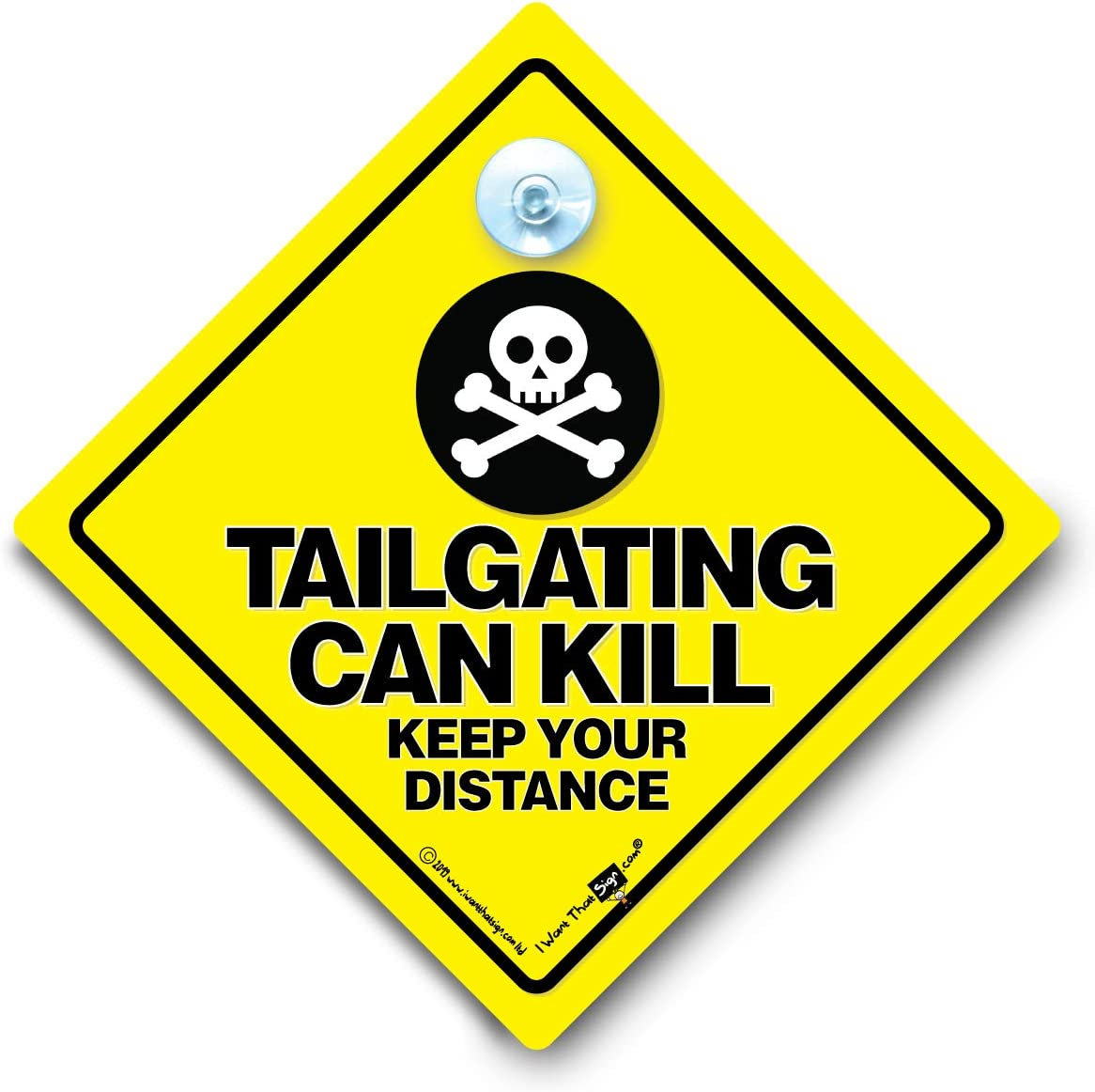 Tailgating Can Kill Keep Your Distance Car Sign Baby on Board Style Yellow and Black Anti Tailgate Sign with Rubber Suction Cup