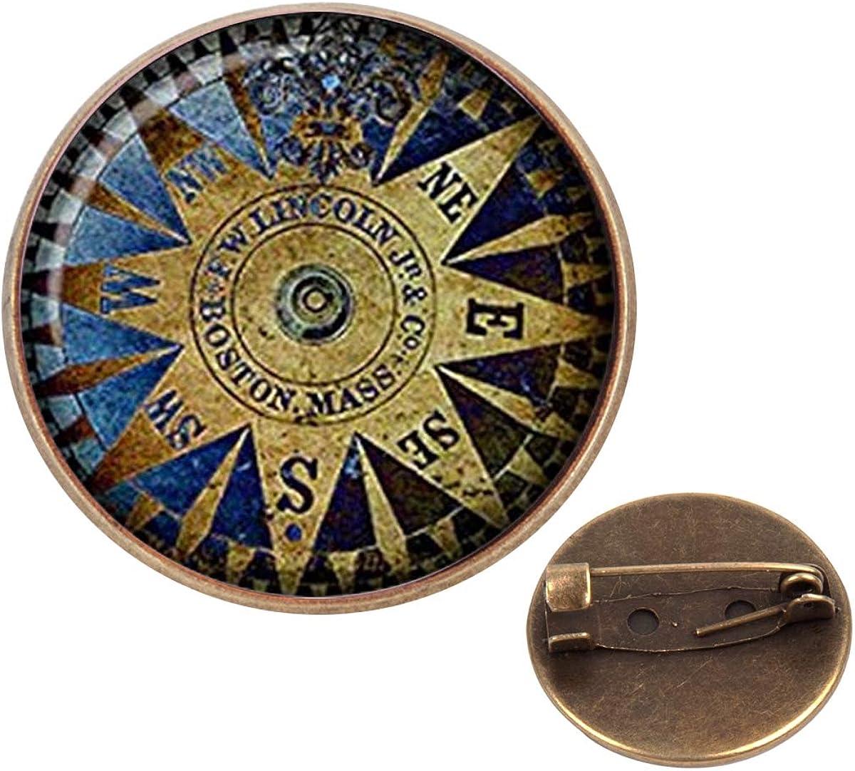 Pinback Buttons Badges Pins Vintage Compass Wind Rose Lapel Pin Brooch Clip Trendy Accessory Jacket T-Shirt Bag Hat Shoe