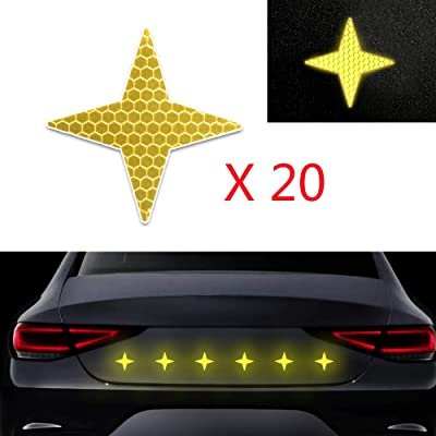 20x High Intensity Grade Reflective Safety Warning Tapes Stickers Self-Adhesive for Car Truck Motorcycle Bike Trailer Camper Helmet Fence Bags Four-Pointed Star Shape Yellow: Automotive