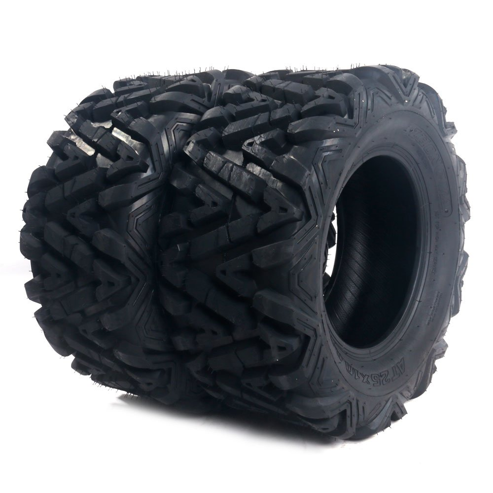 2x ATV Tire 25x10-12 Rear Mud Terrain Tire, 6 Ply