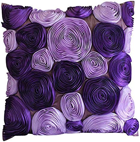 Purple /& Gold Decorative Pillow Sham Covers Accent Couch Pillow Bed Toss Sofa 24x24 Purple and Gold Silk Pillow Sham Cover Home