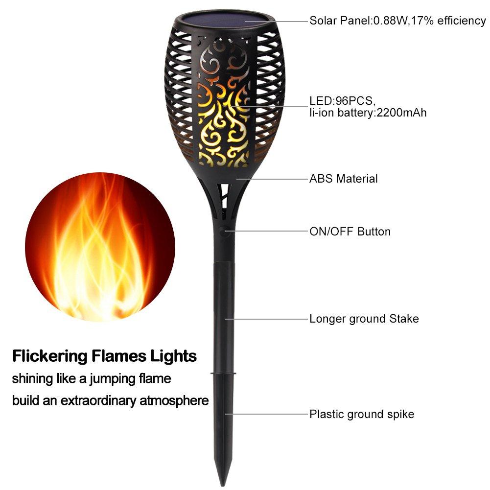 Beleuchtung Fein Solar Garten Tiki Taschenlampe 96 Led Flackernder Pfad Tanzende Flammen Lichter