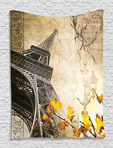 Parisian Decor City of Romance Eiffel Decor Fall Leaves Paris Lover Fan Vintage Tower Wall Tapestry Hanging Art Prints Design Bedroom Living Room Apartment Decoration, Beige Charcoal Yellow Orange ()