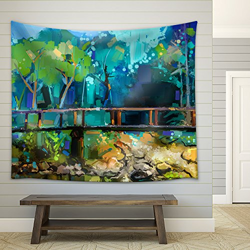 Oil Painting Landscape with Wooden Bridge over Creek in Forest Fabric Wall Tapestry