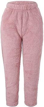 Pantalones De Pijama De Forro Polar Para Mujer De Color Solido De Felpa Elasticos Anchos Sueltos Amazon Es Salud Y Cuidado Personal