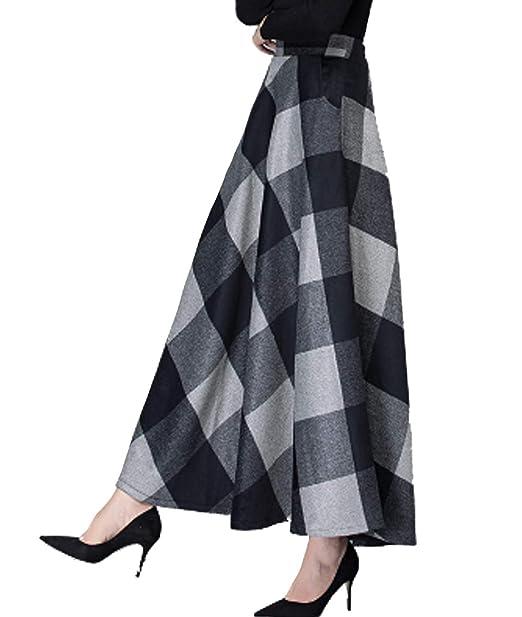 86e0e1746ce3d Femirah Women s Vintage Thick Warm Plaid Long Maxi Skirt Plus Size  Amazon. co.uk  Clothing