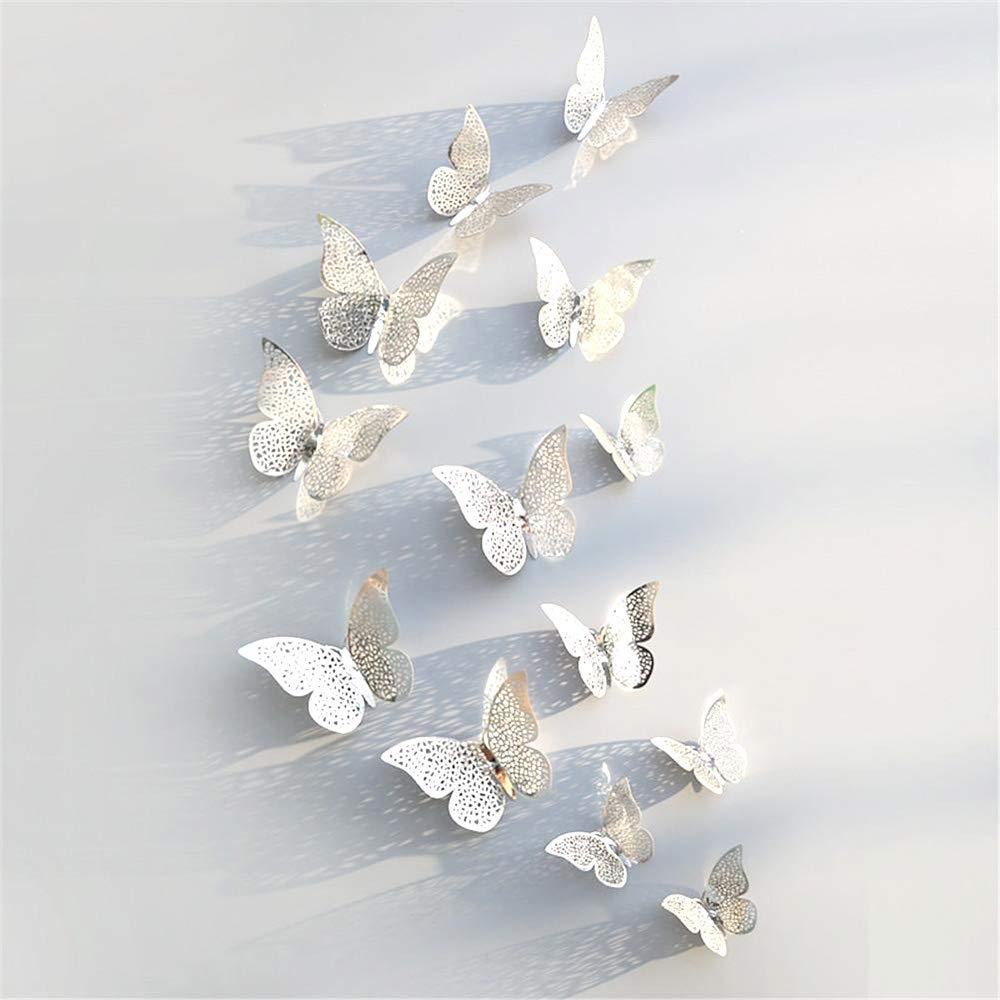 JUN-H 36 Pezzi Adesivi Decorazioni Farfalla 3D Adesivi Murali fai da te Adesivi Murali Camera da Letto Decorazioni per Murali Adesivi per la Casa Murali Decorativi Rimovibili Stile Argento