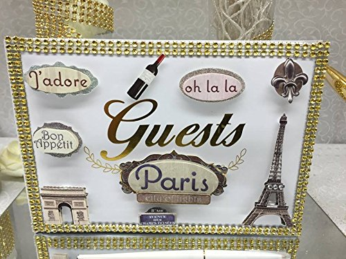 Paris Guest Book with Pen for Weddings Sweet 16 Birthday Keepsake by onlinepartycenter