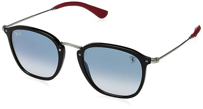 e129b66b0 Ray-Ban rb2448nm Scuderia Ferrari colección anteojos de sol (Negro/Plata,  Azul