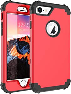 "iPhone 8 Case, iPhone 7 Case, BENTOBEN 3 in 1 Hybrid Hard PC Soft Silicone Rubber Bumper Heavy Duty Shockproof Slim Rugged Protective Phone Case Cover for iPhone 8 /iPhone 7 (4.7"") Sports Red/Black"