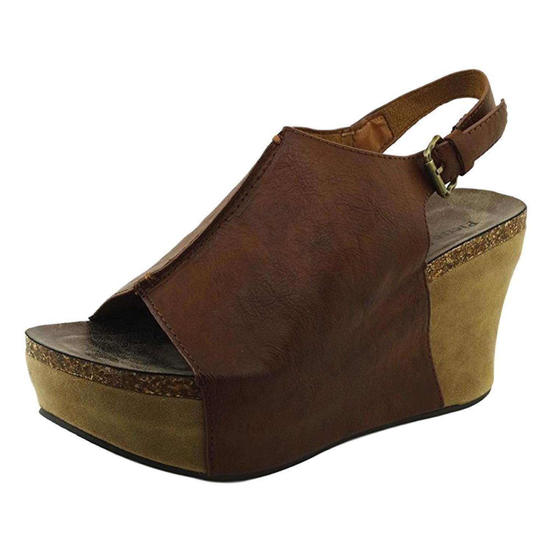 Pierre Dumas Hester-14 Women's Platform Wedge Open Toe Sandals,Whiskey,8