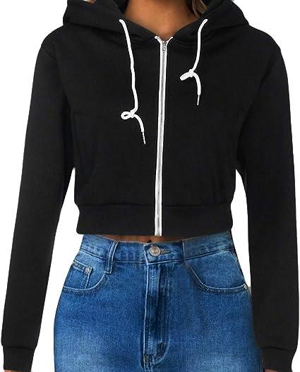 Womens PLAIN CROP HOODIE Zipper Sweatshirt ZIP Cosy Hoody Dance Ladies