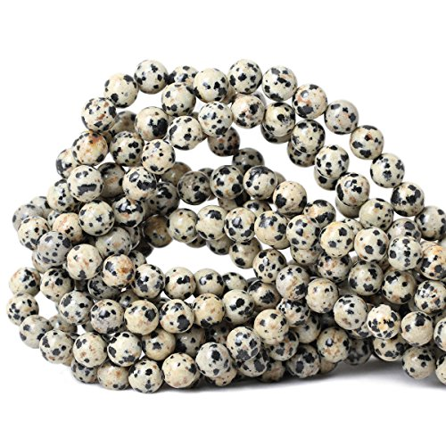 Qiwan 45PCS 8mm Natural Dalmatian Jasper Gemstone Smooth Round Loose Beads For Jewelry Making 1 Strand ()