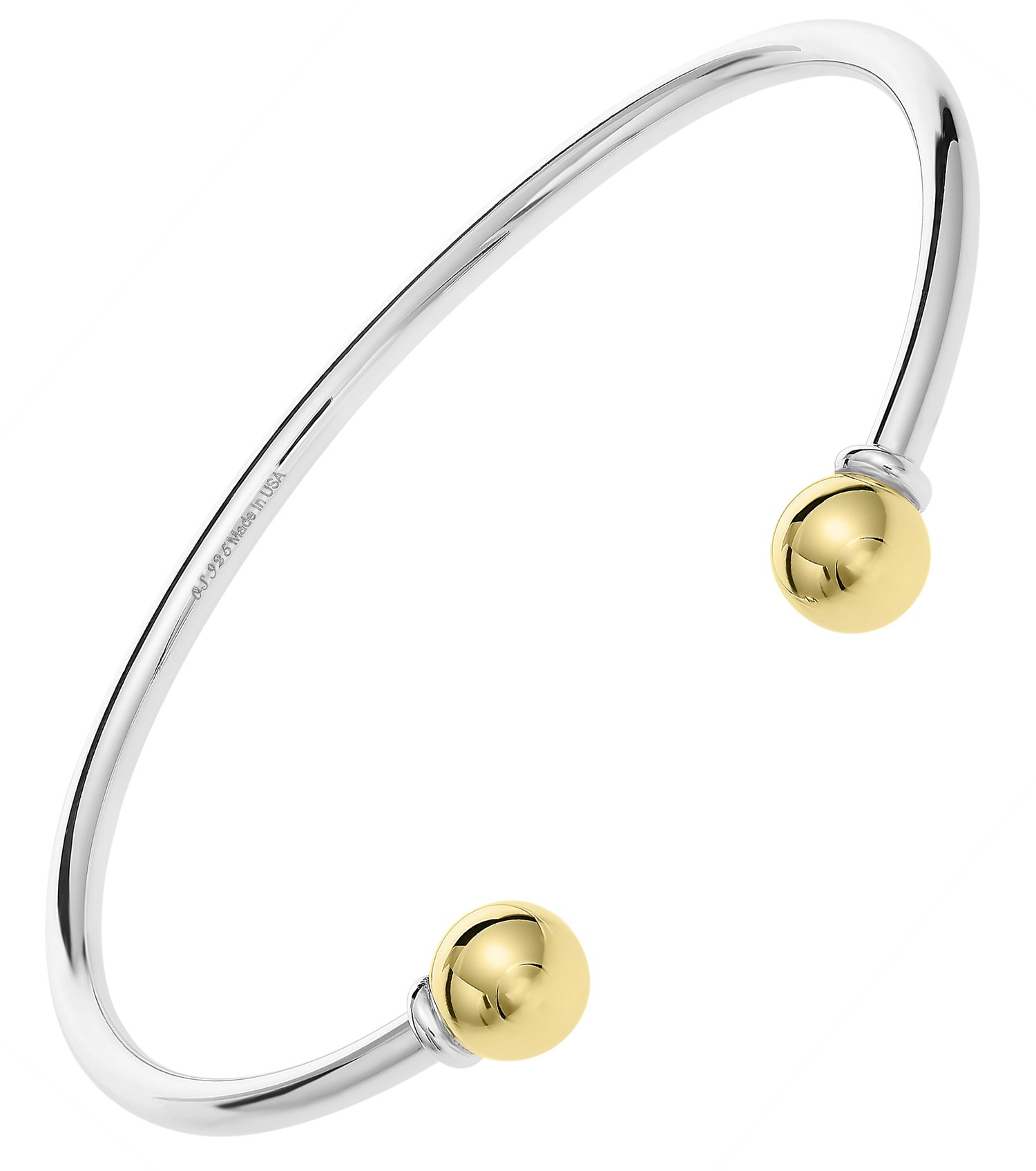 Ocean side bracelets Unique Royal Jewelry Solid 925 Sterling Silver and 14k solid Gold 2-Ball Cuff Bracelet (Size 6)