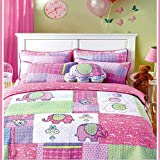 HNNSI 100% Cotton Girls Kids Quilt Bedspread Coverlet Set Twin Size 3 Pieces, Elephant Pattern Patchwork Fabric Girls Kids Comforter Bedding Sets (Twin, Elephant)