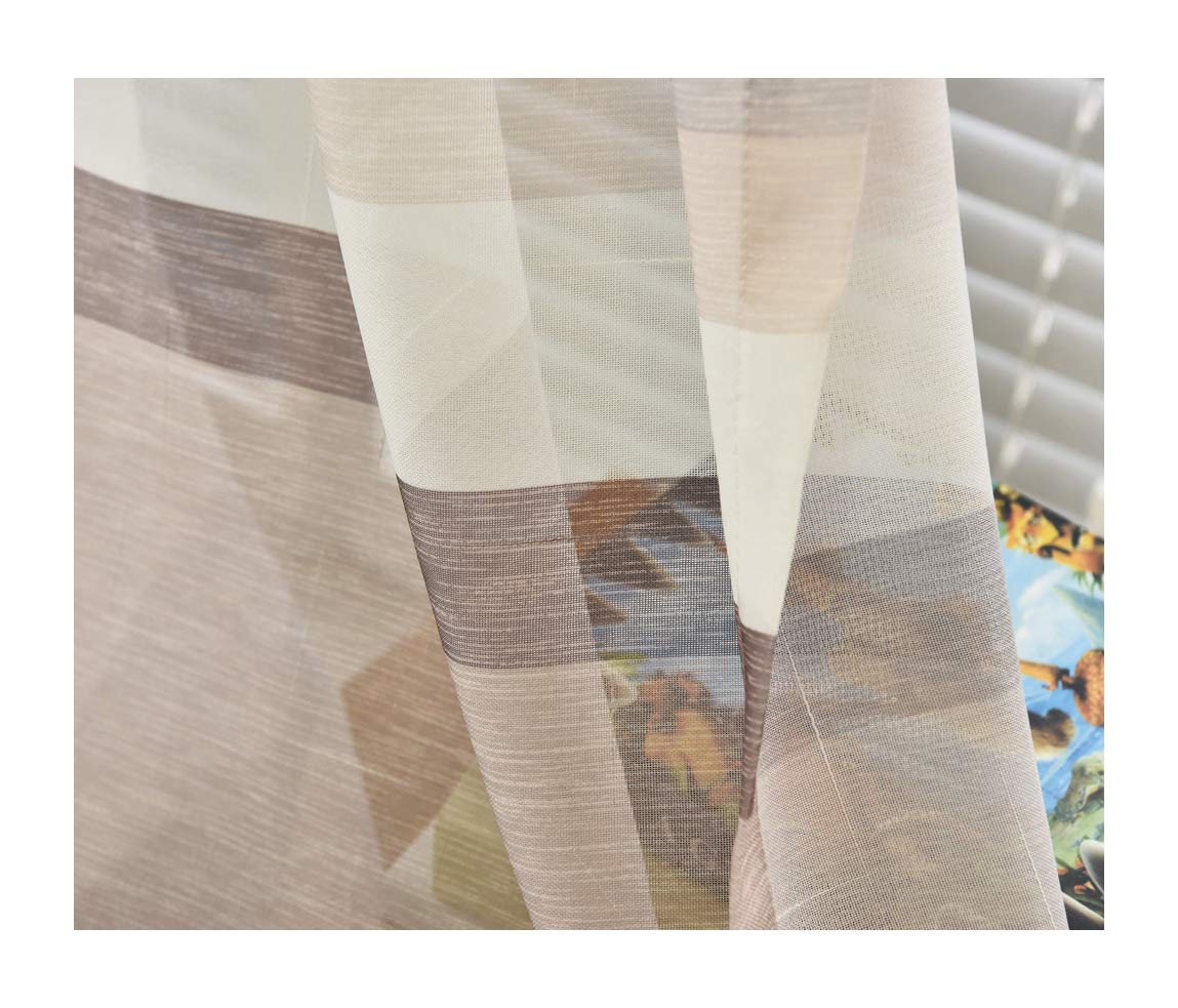 Aside Bside Transparent Window Decoration Rod Pocket Top Color Block Stripes Fashion Style Sheer Curtains For Sitting Room Kitchen and Child Room (1 Panel, W 52 x L 84 inch, Coffee)