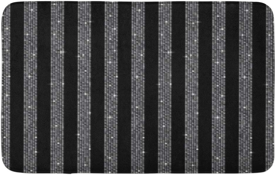 """Adowyee 20""""x30"""" Bath Mat Parallel Lines on Made of Silver Sequins Mosaic Sparkle Cozy Bathroom Decor Bath Rug with Non Slip Backing"""