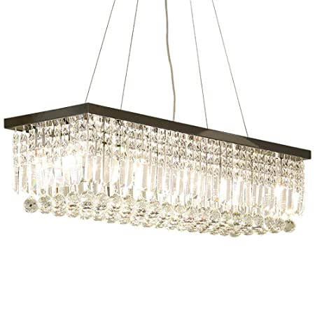Ikakon Chandeliers Pendant Lighting Rectangular K9 Crystal Ceiling Light Fixture for Dining Room Kitchen Island 6 LED