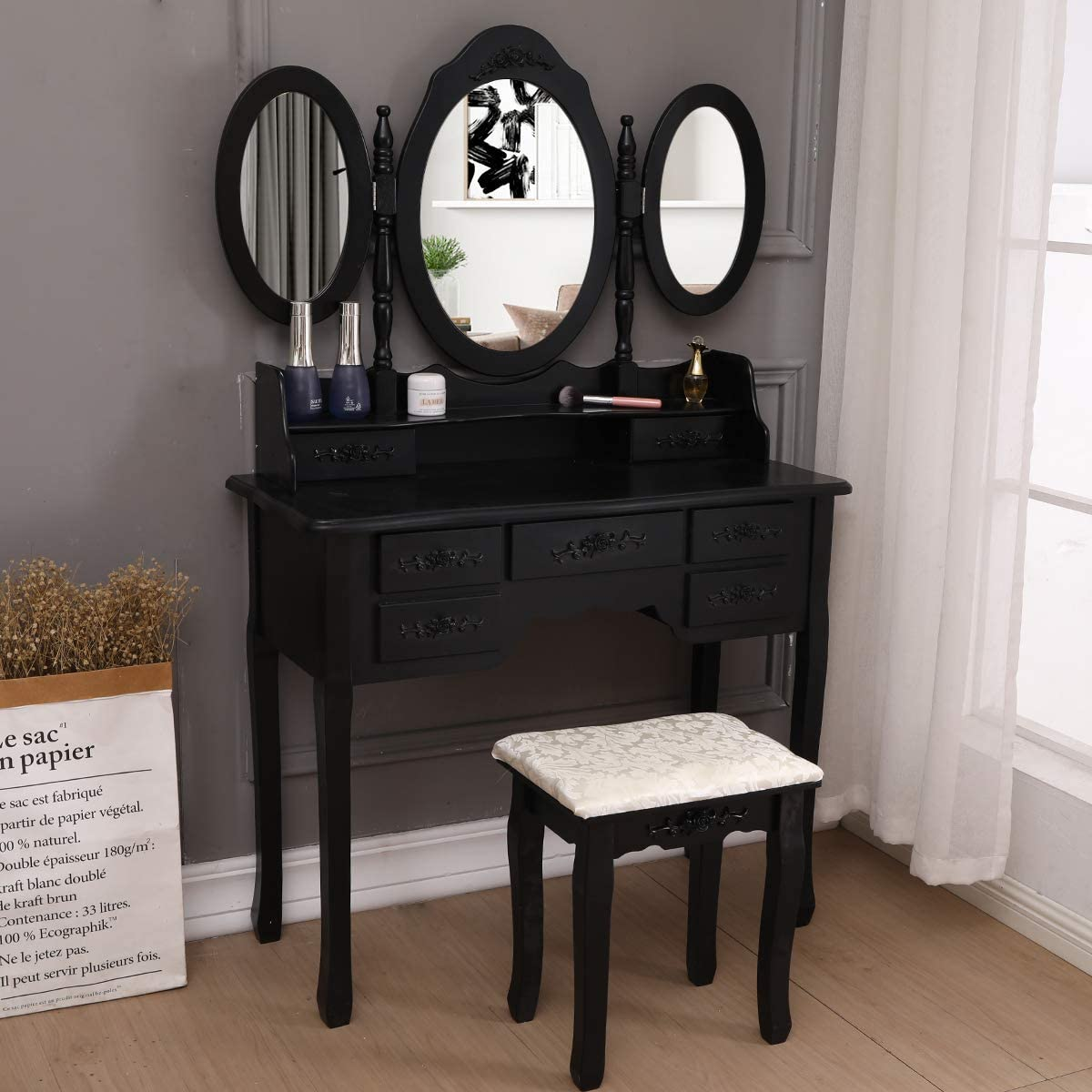 Vanity Set Tri Folding Dressing Table,7 Drawers,Oval Mirror Wood Bathroom Makeup Table Set with Cushioned Stool,Black