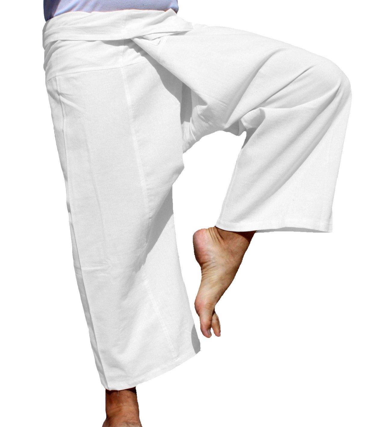 Raan Pah Muang RaanPahMuang Brand Light Summer Cotton Thai Plain Fisherman Wrap Pants Tall Cut, X-Large, White by Raan Pah Muang