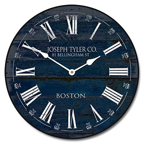Barnwood Navy Blue Wall Clock, Available in 8 Sizes, Most Sizes Ship The Next Business Day, Whisper Quiet. For Sale