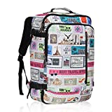 Hynes Eagle 38L Flight Approved Weekender Carry on Backpack, Stamps