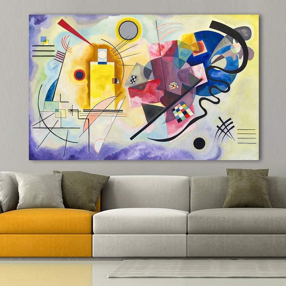 PLjVU Cuadro Abstracto Pared Sala Artista decoración del hogar Amarillo Rojo Azul Pintura al óleo-Sin marco70x100cm