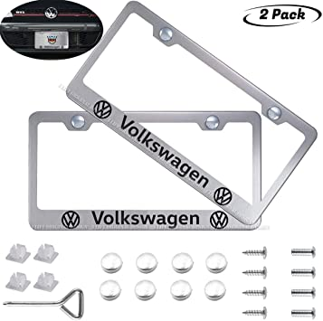 Goodcover 2pcs Silver Cadillac License Plate Frame Applicable to All Cadillac tag License Frame