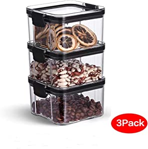 Food Storage Containers – Pantry & Kitchen Container - Clear Plastic BPA-Free - Keeps Food Fresh & Dry for Sugar, Flour, Snack, Baking Supplies, Leak-proof with Black Locking Lids (3, 16 ounces)