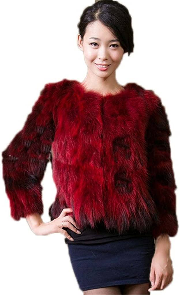 YR Lover Womens Winter Real Raccoon Fur Warm Fox Coat Jacket
