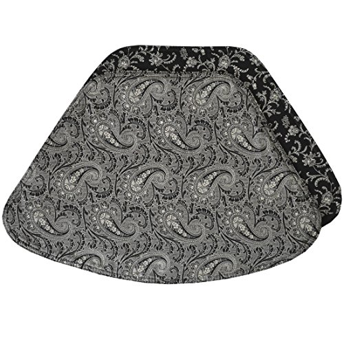 Set of 2 - Black Paisley Wedge-Shaped Placemat for Round Tables