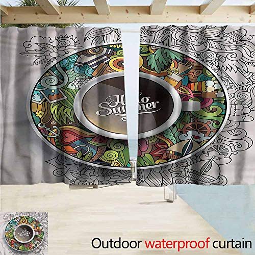 MaryMunger Outdoor Blackout Curtains Coffee Summer Doodles Saucer Artsy Draft Blocking Draperies W55x39L Inches ()